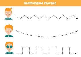 trace as linhas com meninos bonitos. prática de habilidades de escrita. vetor