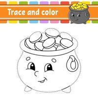traço e pote de cor vetor