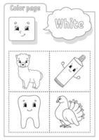 livro de colorir branco. aprender cores. flashcard para crianças. personagens de desenhos animados. conjunto de imagens para pré-escolares. planilha de educação. ilustração vetorial. vetor