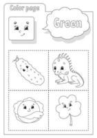 livro para colorir verde. aprender cores. flashcard para crianças. personagens de desenhos animados. conjunto de imagens para pré-escolares. planilha de educação. ilustração vetorial. vetor