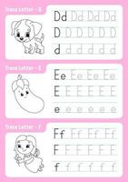 escrever as letras d, e, f. página de rastreamento. planilha para crianças. folha de prática. aprenda o alfabeto. personagens fofinhos. ilustração vetorial. estilo de desenho animado. vetor