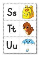 alfabeto inglês com personagens de desenhos animados s, t, u. cartões de memória flash. conjunto de vetores. estilo de cor brilhante. aprenda abc. letras maiúsculas e minúsculas. vetor