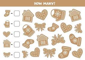 jogo de contagem para crianças. biscoitos de gengibre de Natal. vetor