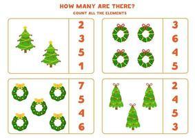 contando o jogo com coroas de flores e árvores de natal. vetor