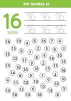 pontilhe ou pinte todos os números 16. jogo educacional. vetor