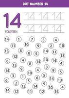 pontilhar ou colorir todos os números 14. jogo educativo. vetor