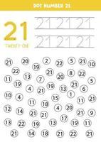 pontilhar ou colorir todos os números 21. jogo educacional. vetor