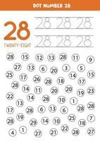 pontilhe ou pinte todos os números 28. jogo educacional. vetor