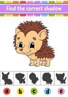 encontre o ouriço de sombra correto. planilha de desenvolvimento de educação. página de atividades. jogo de cores para crianças. ilustração isolada do vetor. Personagem de desenho animado. vetor