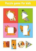 jogo de puzzle para crianças. copiar e colar. prática de corte. formas de aprendizagem. planilha de educação. círculo, quadrado, retângulo, triângulo. página de atividades. Personagem de desenho animado. vetor