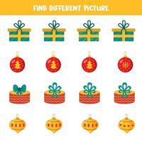 encontre diferentes bolas de natal ou caixas de presente em cada linha. vetor