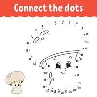 jogo ponto a ponto com cogumelo. Desenhe uma linha. para crianças. planilha de atividades. livro de colorir. com resposta. Personagem de desenho animado. ilustração vetorial. vetor