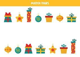 encontre um par para cada presentes e bolas de natal. vetor