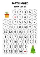 planilha matemática com árvore de natal e presente. vetor