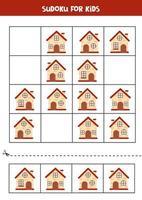 jogo de sudoku com casas de desenho animado. planilha lógica para crianças. vetor