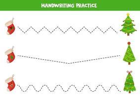 trace as linhas com meias e árvores de natal dos desenhos animados. vetor