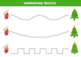 trace as linhas entre as meias de natal e os abetos. vetor