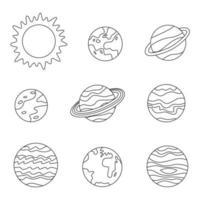 planetas e sol do sistema solar de cor. folha de colorir para crianças. vetor