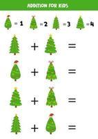Além disso, com pinheiros de natal. jogo matemático para crianças. vetor