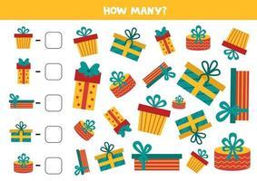 jogo de contagem com caixas de presentes. planilha de matemática. vetor