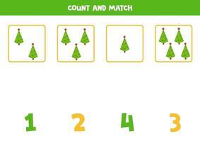 jogo de contagem para crianças. fofos pinheiros de Natal. vetor