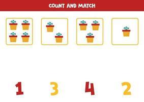conte todos os objetos e combine com números. jogo de matemática com caixas de presentes. vetor