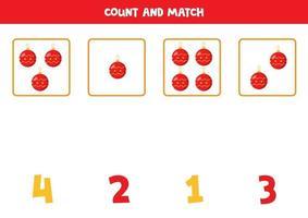jogo de contagem para crianças. conte todas as bolas de natal. vetor
