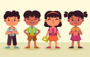 grupo de crianças de volta à escola vetor