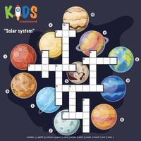 palavras cruzadas do sistema solar vetor