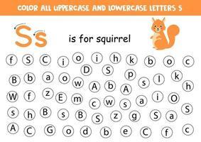 encontre e pinte todas as letras s. jogos de alfabeto para crianças. vetor