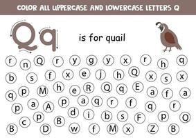 encontre e pinte todas as letras q. jogos de alfabeto para crianças. vetor