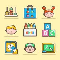 conjunto de ícones do jardim de infância vetor