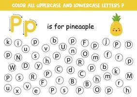 planilha do alfabeto. encontre todas as letras p. letras de pontos. vetor