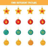 encontre uma imagem diferente das outras. conjunto de bolas de natal. vetor