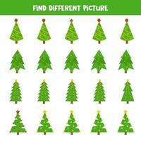 encontrar uma imagem diferente de uma árvore de natal. vetor