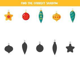 encontre a sombra correta de cada bugiganga de natal. vetor