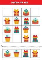 Sudoku jogo de puzzle para crianças. conjunto de caixas de presentes de Natal. vetor