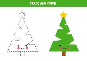prática de caligrafia para crianças. cor e traçar o pinheiro kawaii. vetor