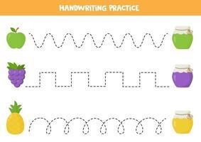 trace as linhas entre frutas e potes de geleia. vetor