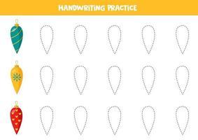 traçando linhas com bolas de Natal. prática de habilidades de escrita. vetor