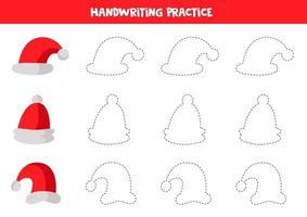 traçando linhas para crianças. traçar contornos de bonés vermelhos de Papai Noel. vetor