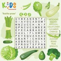 palavras cruzadas de busca de palavras verdes saudáveis vetor