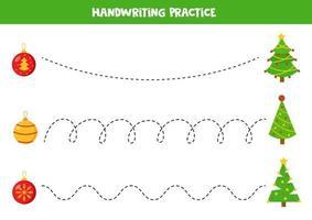 trace as linhas com pinheiros e enfeites de natal. vetor