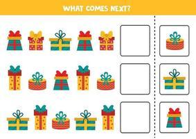 o que vem a seguir com caixas de presentes de desenho animado. jogo lógico para crianças. vetor