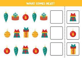 o que vem a seguir com bolas de natal e caixas de presente de natal. vetor