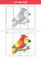 Corte e cole o jogo para crianças. papagaio colorido bonito. vetor