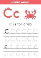 rastreando a letra c do alfabeto com caranguejo bonito dos desenhos animados. vetor