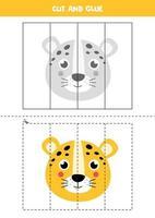 Corte e cole o jogo para crianças. leopardo dos desenhos animados. vetor