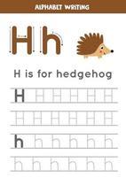rastreando a letra h do alfabeto com ouriço bonito dos desenhos animados. vetor