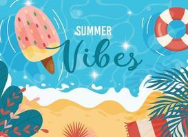 pôster vibrações de verão vetor